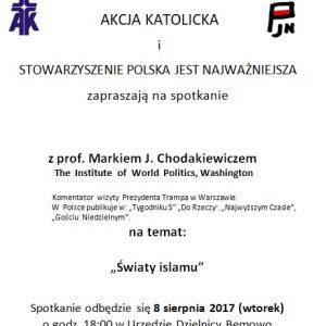 Zaproszenie Na Spotkanie Z Prof Markiem J Chodakiewiczem Prof