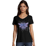 Hanes GT9337 Y07650 Women's Dragonfly Mandala Short-Sleeve V-Neck Graphic Tee - Dragonfly Mandala/Black