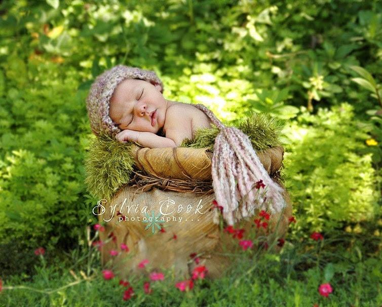 TWILIGHT Crochet Newborn Baby Photography Elf Night Cap Photo Prop