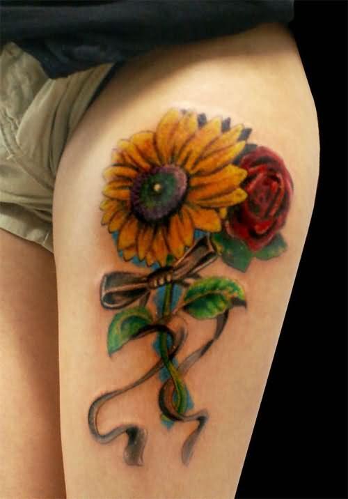Left Thigh Rose Flower And Sunflower Tattoo