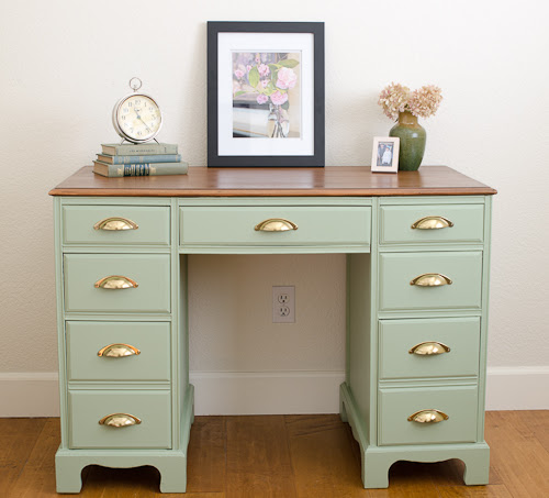A Vintage Desk Makeover With Sage Advice by A Green Paintbrush