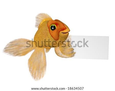 goldfish cartoon image. A cartoon goldfish holding