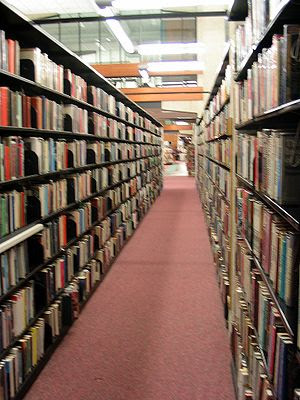 Libraries almost invariably contain long aisle...