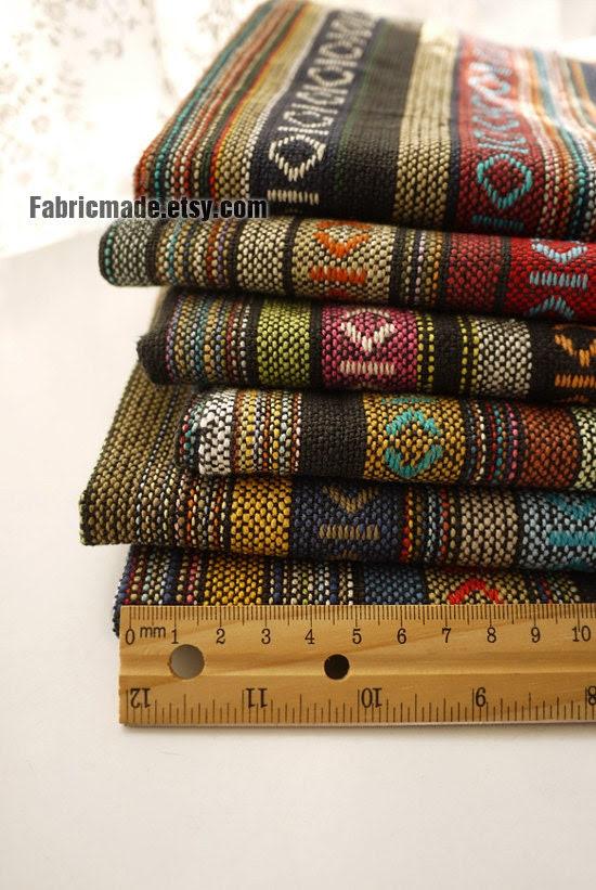 Colorful Stripe Cotton Fabric Knit Fabric BOHO Bohemian Style Bag Chair Cushion Fabric- Fabric by Yard 1/2 Yard - fabricmade