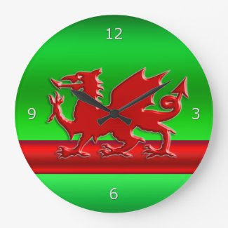 Red stylized Welsh Dragon on green metallic-look
