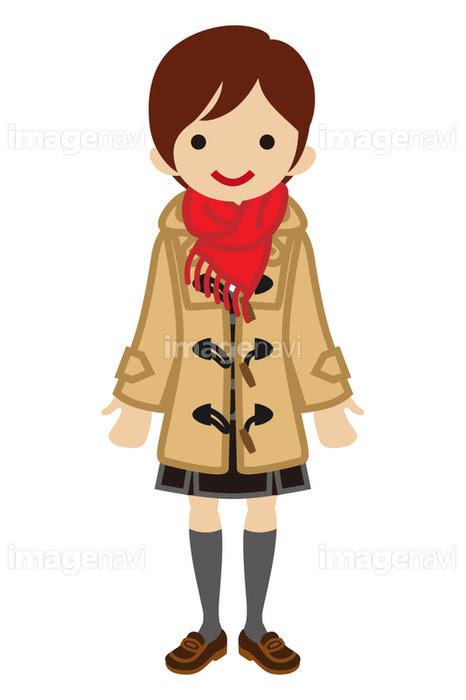 ショートカットの女子高生 冬服の画像素材41035576 イラスト素材