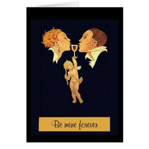 1920s Valentine Kiss Greeting Card