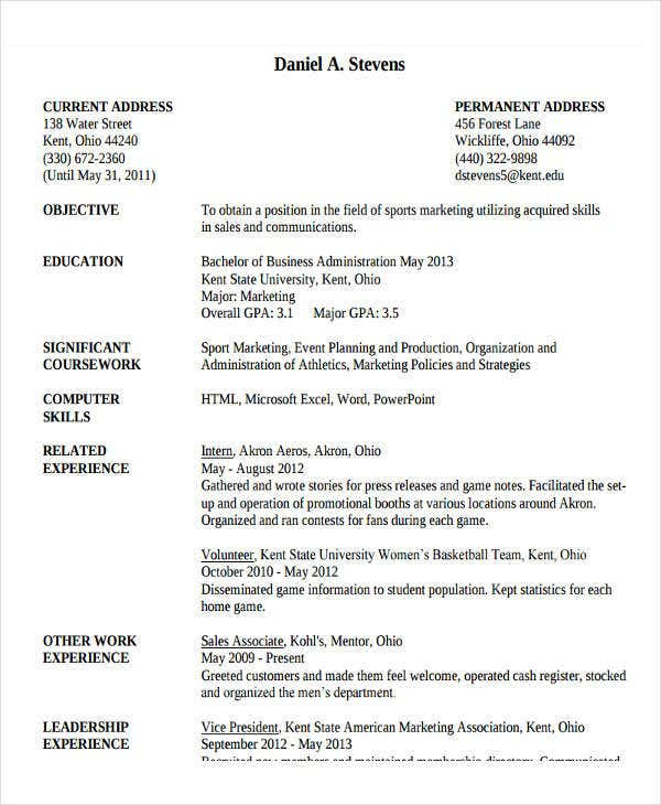 20 Basic Administration Resume Templates Pdf Doc