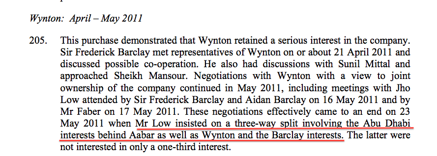 Justice Richards referred several times to the joint bid by Jho Low and Aabar for Claridge's