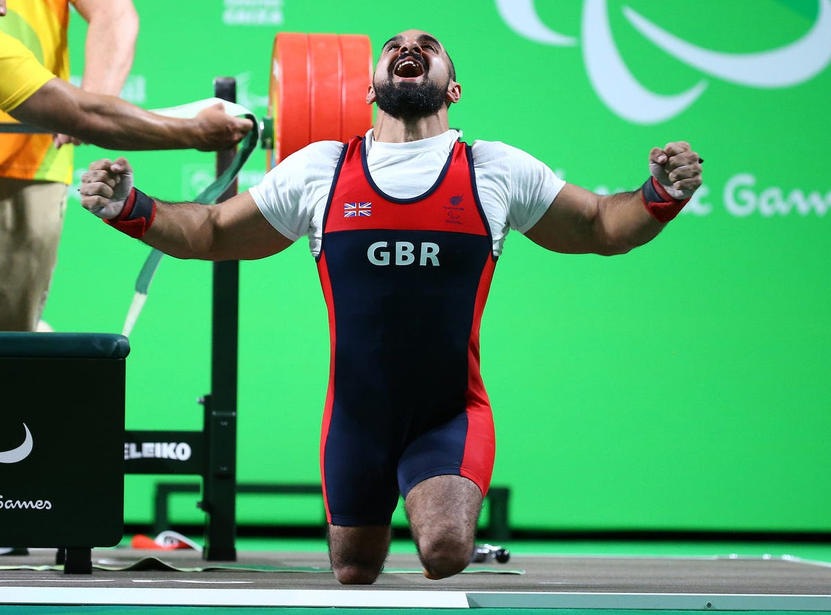 Ali Jawad of Great Britain after a successful lift in power lifting.