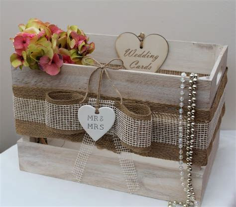 Vintage Country Wooden Wedding Cards Crate Card Post Box