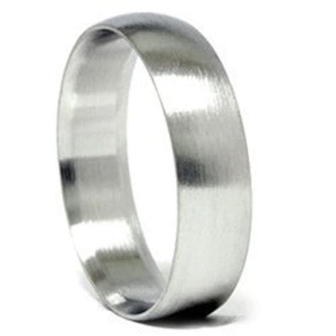 Mens Brushed Wedding Band Matte Finish Bridal Ring 14K White