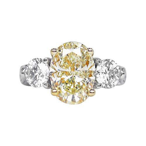 3.60 ct YELLOW OVAL CUT DIAMOND ENGAGEMENT RING 14k WG Three Stone Engagement Rings
