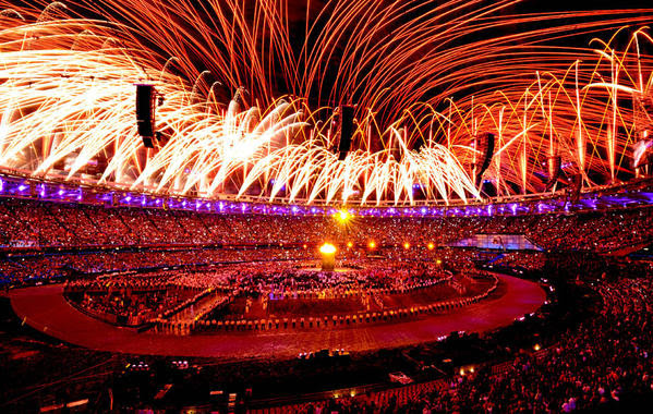 Fireworks light up Olympic Stadium during during the opening ceremony of London 2012.