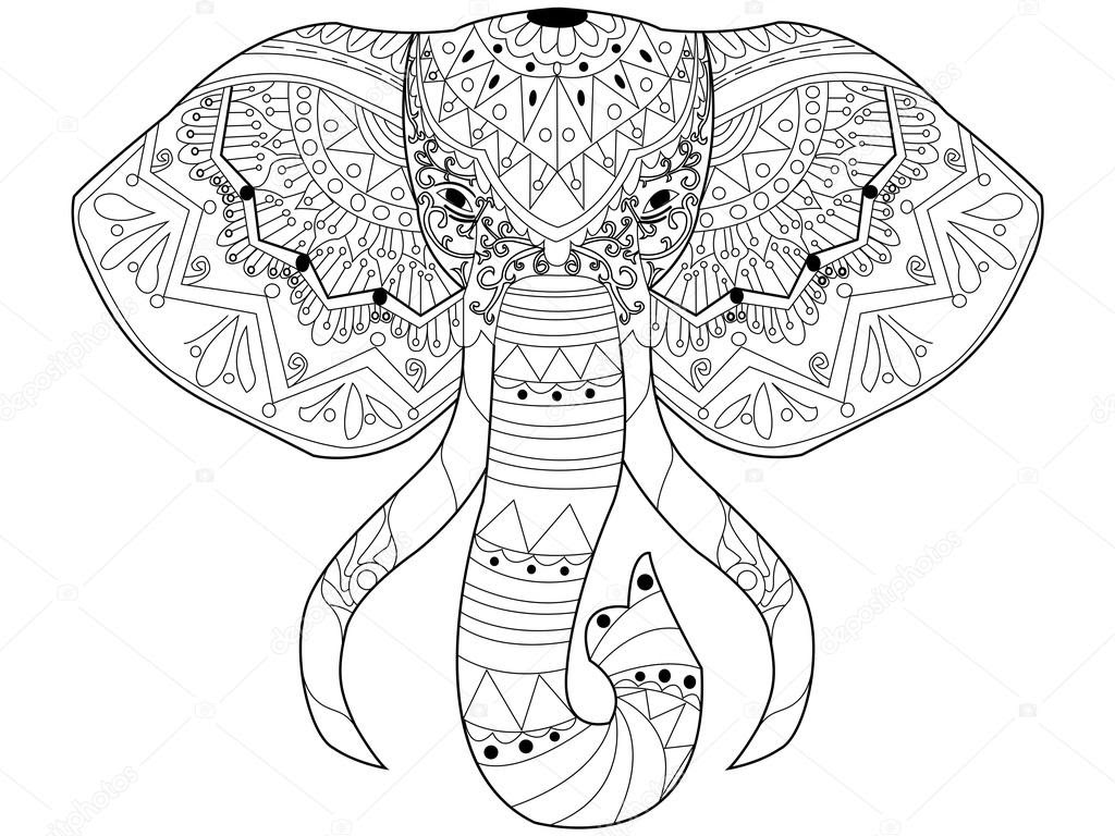 depositphotos_108992928 stock illustration elephant coloring vector for adults