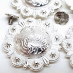 """4 Pack 1"""" Saddle Bright Silver Round Berry Conchos With Chicago Screws By Hill Leather Company"""