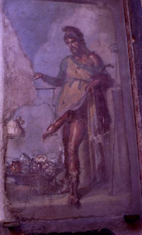 representação do deus Priapo num fresco de Pompeia