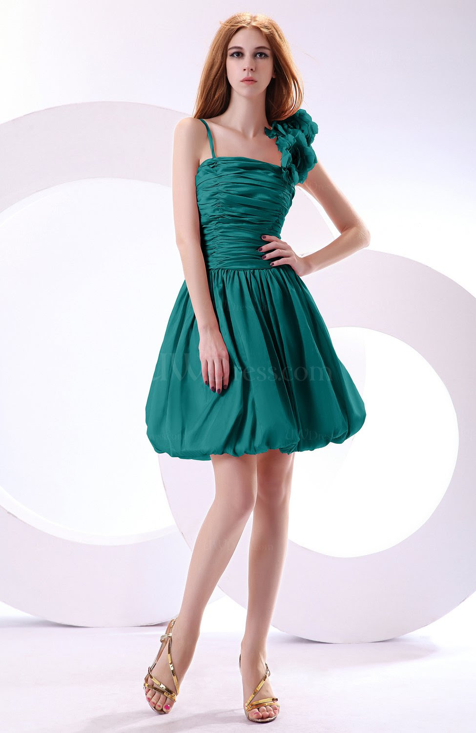 emerald green cute aline spaghetti sleeveless taffeta