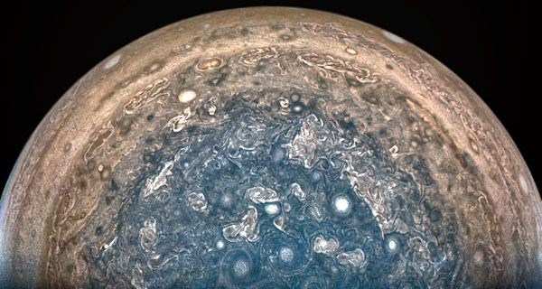 An image of Jupiter's south pole that was taken by NASA's Juno spacecraft on February 2, 2017...from a distance of 62,800 miles (101,000 kilometers).