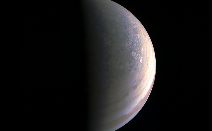 JunoCam captured this image of Jupiter's north pole region from a distance of 78,000 km (48,000 miles) above the planet.