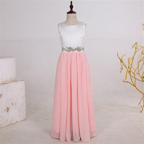 Long Chiffon Pink Flower Girl Dresses,Junior Bridesmaid