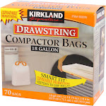 Kirkland Compactor Bags, 18 Gallon, Smart Fit Gripping Drawstring, 70