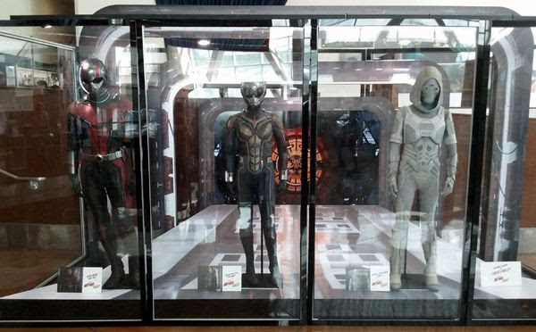 The Ant-Man, Wasp and Ghost costumes used in ANT-MAN AND THE WASP...on display in Hollywood on July 8, 2018.