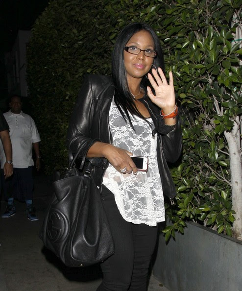 Singer Toni Braxton is seen on a night out with her younger sister Tamar as they dine together at Giorgio Baldi restaurant in Santa Monica.