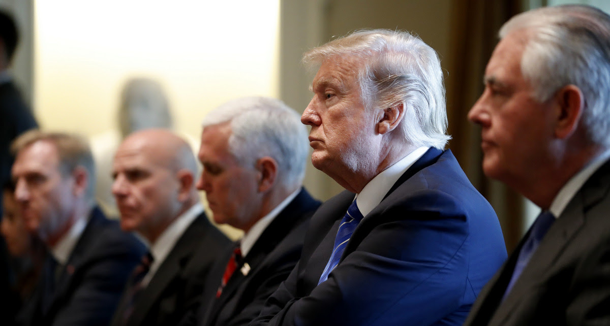 President Donald Trump, second from right, with Secretary of State Rex Tillerson, right, Vice President Mike Pence, and others, listen during a meeting with Malaysian Prime Minister Najib Razak in the Cabinet Room of the White House, Sept. 12, 2017, in Washington. (AP/Alex Brandon)