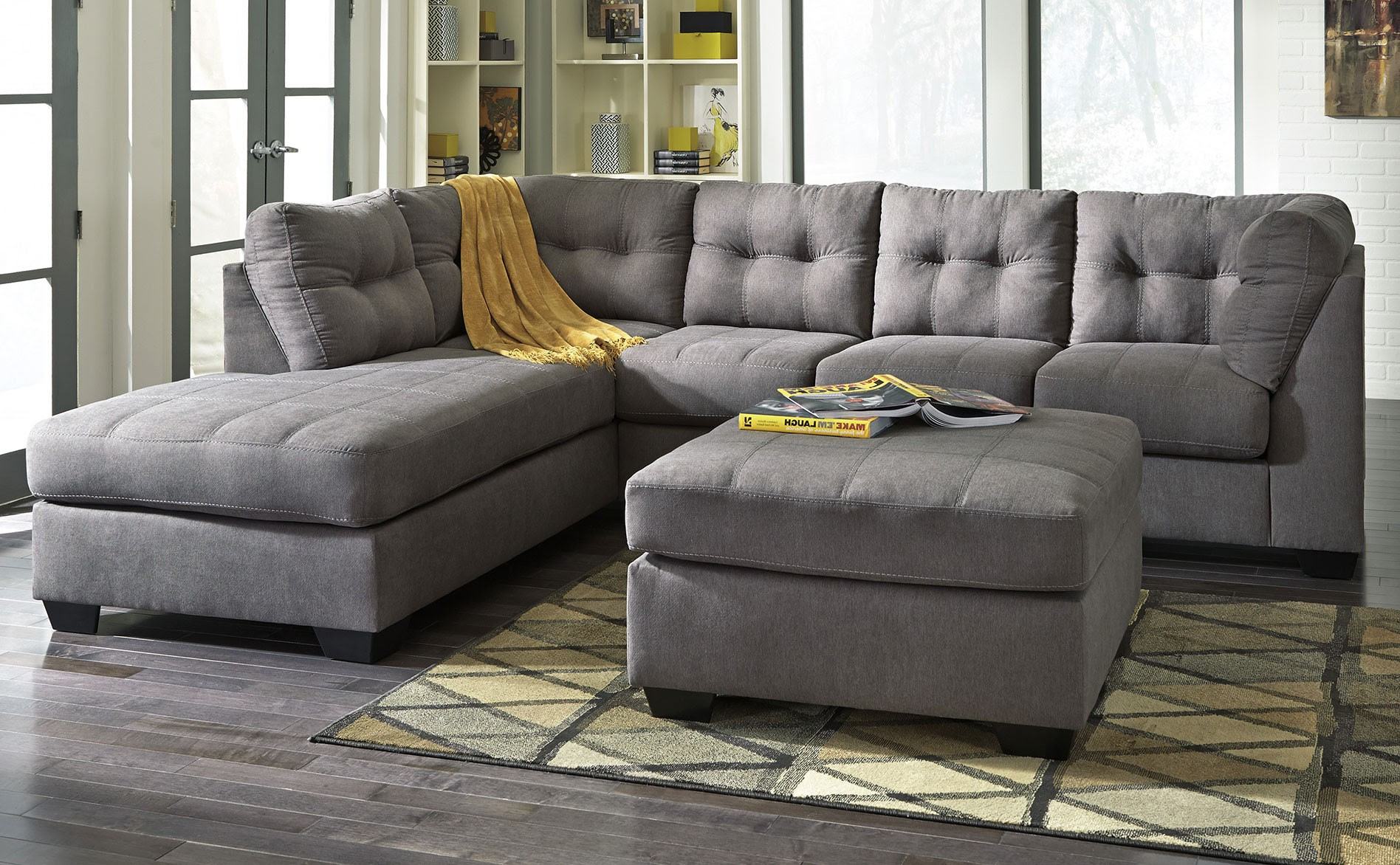 Rent Signature Design Maier 2 Piece Chaise Sectional Charcoal