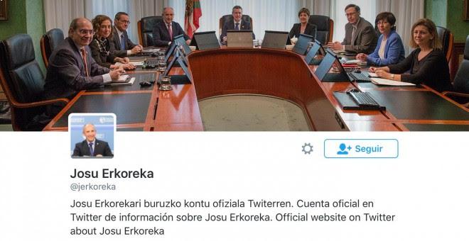 Perfil de twitter Josu Erkoreka.