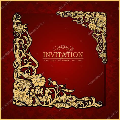 Abstract background with antique, luxury red vintage frame