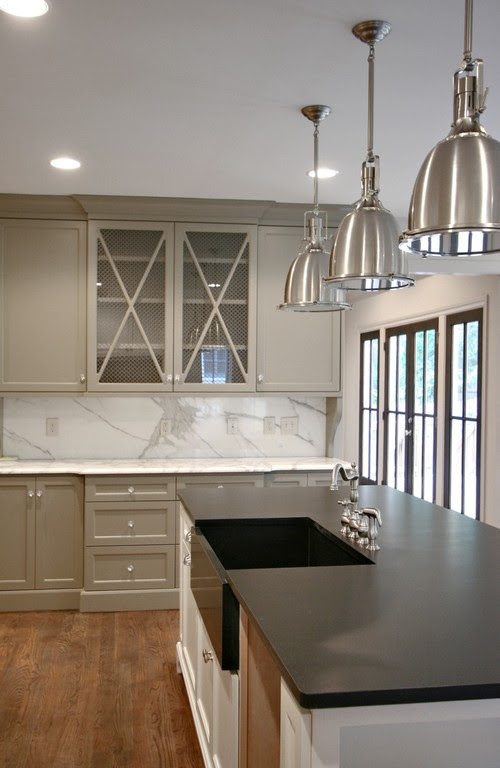 Beautiful kitchen cabinets painted with Benjamin Moore Gettysburg Gray.