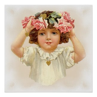 Pink Rose Garland Poster - Great Gift! print