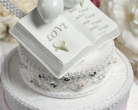 Love Verse Bible Cake Topper with Doves and Calla Lily