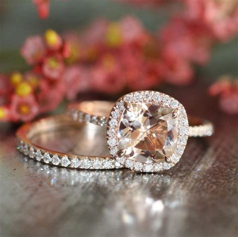 14k Rose Gold Wedding Set Morganite Engagement Ring and