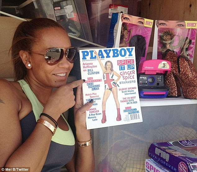 'Dare I tweet your centrefold?' Mel B came across Geri Halliwell's Playboy cover as she delved through her Spice Girls storage space on Tuesday