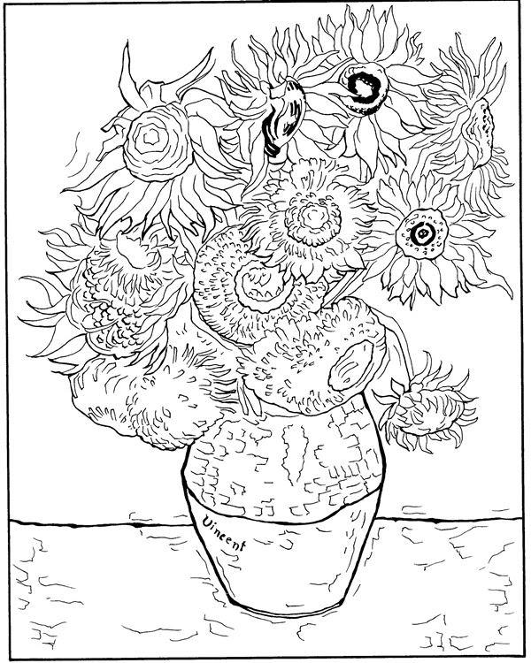 Girasoles De Van Gogh Para Colorear
