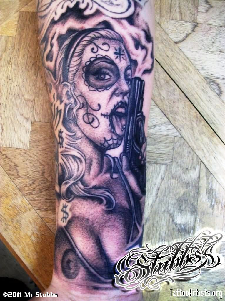 Day Of The Dead Pin Up Girl Tattoo By Misterstub