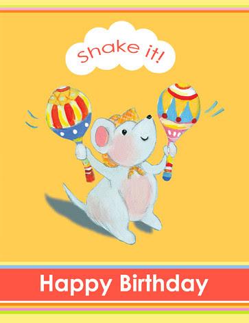 Birthday Maraca Mouse card