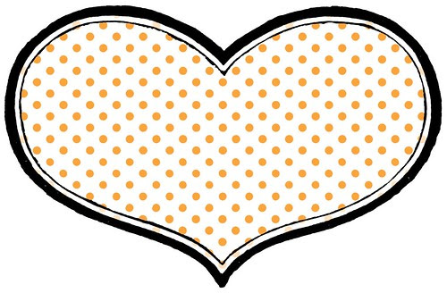 4 BRIGHT tiny dot on white paper HEART