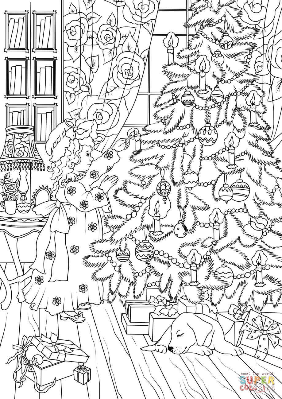 A Little Girl is Decorating a Christmas Tree coloring page ...