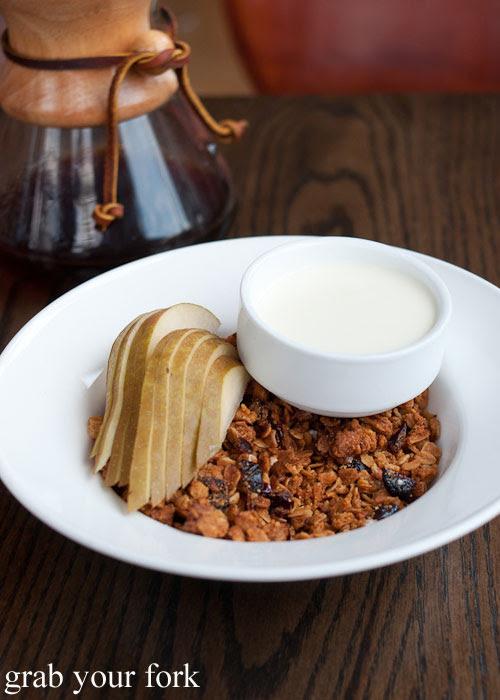 housemade maple cinnamon granola almonds yoghurt pears breakfast Nightwood Chicago Illinois