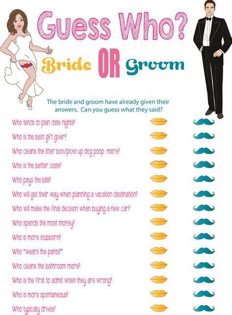 """Printable Bridal Shower Game """"Guess Who?""""   Printable"""