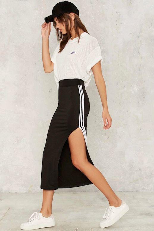 Le Fashion Blog Sporty Style Black Baseball Cap White Nike Tee Side Stripe Midi Skirt Sneakers Via Nasty Gal