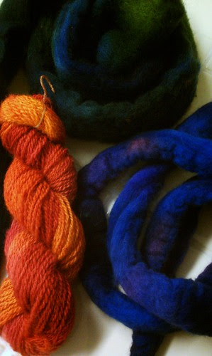 Dyed yarn and roving