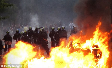 Ablaze: Riots have raged over the last few days in London