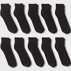 Men's Quarter Athletic Socks 10pk - Goodfellow & Co Black 6-12