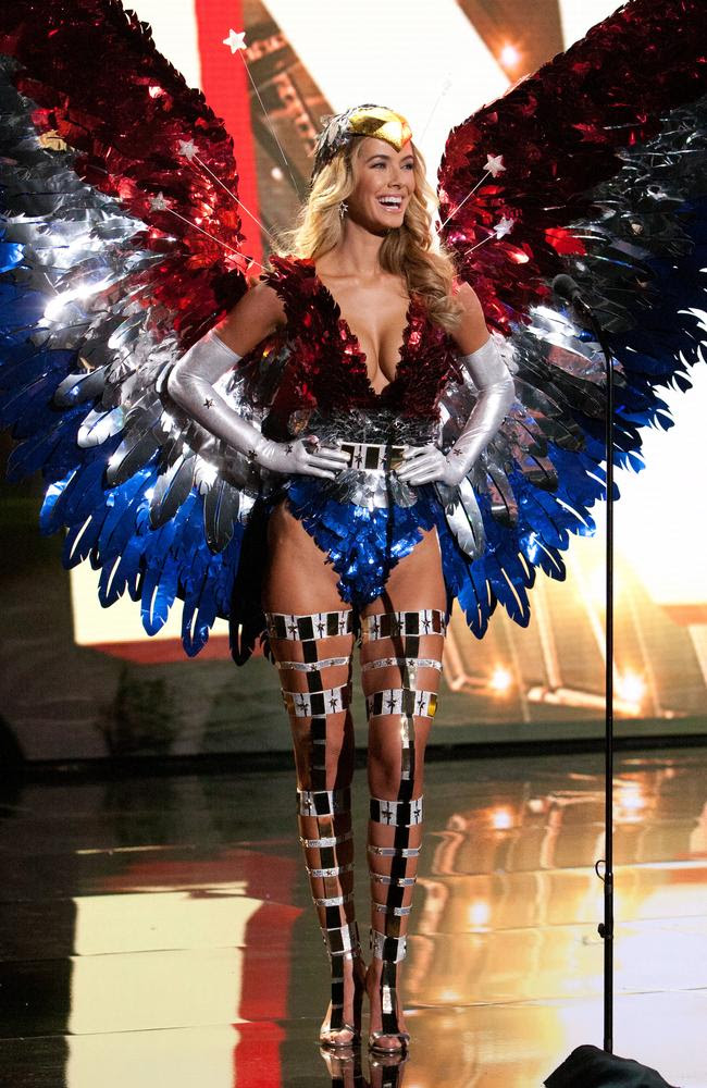 Olivia Jordan, Miss USA 2015 debuts her National Costume on stage at the 2015 Miss Universe Pagaent on December 16, 2015 in Las Vegas. Picture: HO/The Miss Universe Organization
