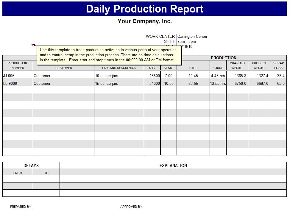 Daily Production Report Format Calendar June